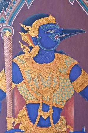 Wall painting of a Thai female giant at Grand Palace, Bangkok, Thailand.
