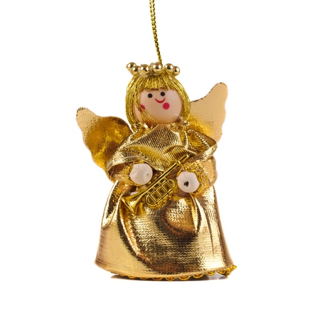 angel figurine: Gold Christmas Angel  on white background. Stock Photo