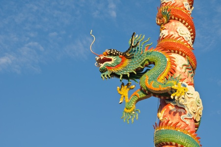 Chinese style dragon with blue sky in the evening, Thailand. photo