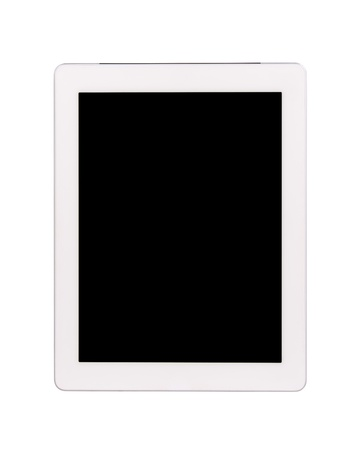 Touch screen tablet computer with black blank screen Isolated on white photo