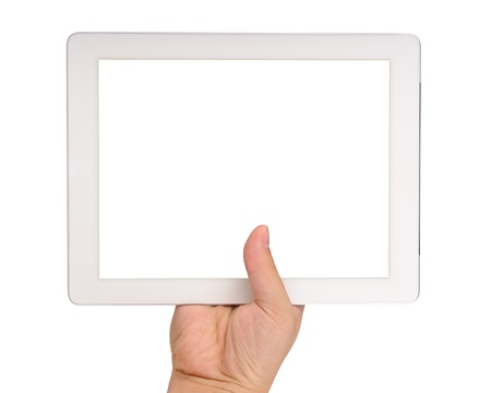 Hand holding a tablet computer with blank screen Isolated on white Stock Photo - 12908920