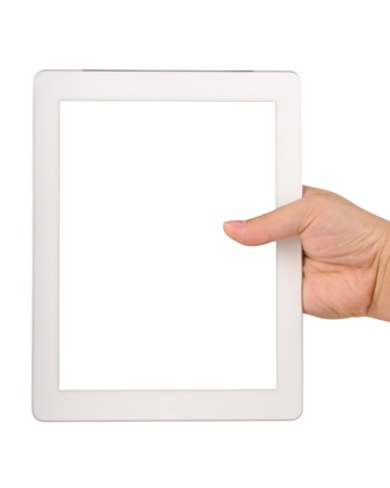 Hand holding a tablet computer with blank screen Isolated on white photo