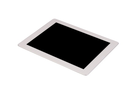 Touch screen tablet computer with blank black screen Isolated on white photo