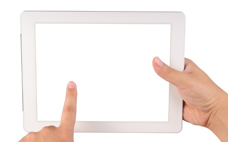 Hand holding a tablet computer with blank screen Isolated on white Stock Photo - 12908959