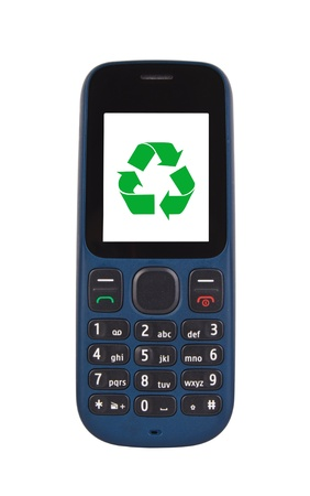 recycle sign: mobile phone with recycle symbol on the screen isolated on white.