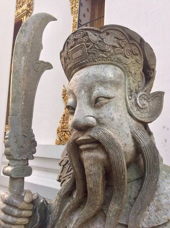 ballast: Chinese rock giant or Chinese ballast at Wat Pho in Bangkok Stock Photo