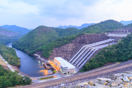 The power station at the Srinakarin Dam in Thailand. Stock Photo
