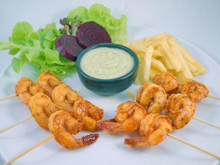 Shrimp marinated skewer