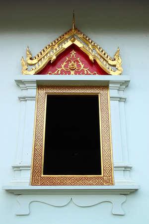 Design beautiful Thai temple window  Stock Photo