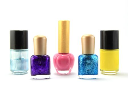 many nails polish on white background  Stock Photo