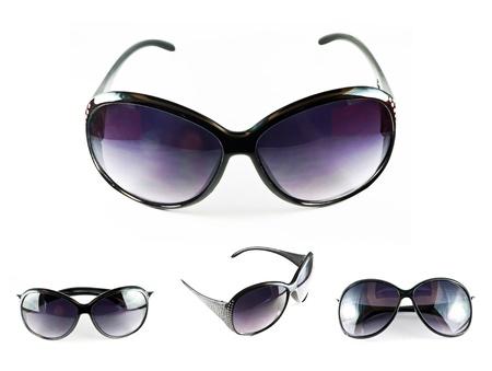Ensemble de lunettes de soleil noirs isol� sur le fond blanc