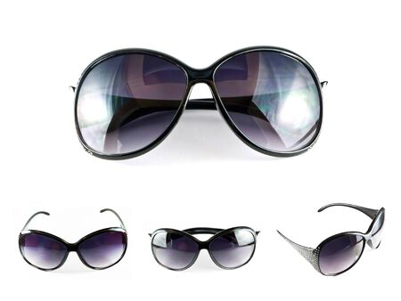 Set of black sunglasses isolated on the white background  photo