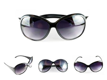 Set of black sunglasses isolated on the white background  Stock Photo