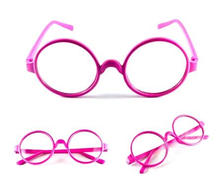 Ensemble de lunettes roses isol�es sur fond blanc Banque d'images