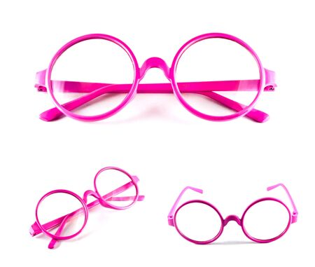 Set of pink glasses isolated on white background