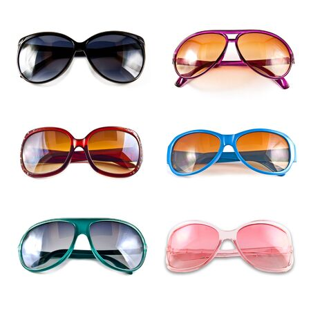 A collection of colorful sunglasses isolated on white background  Stock Photo