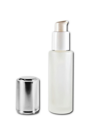cosmetic bottles close and open isolated on the white background