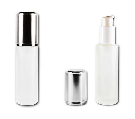 cosmetic bottles close and open isolated on the white background Stock Photo - 9823280
