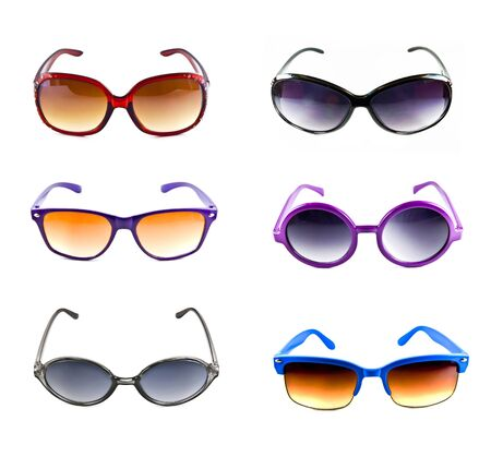 collection of colorful sunglasses isolated on white background  photo