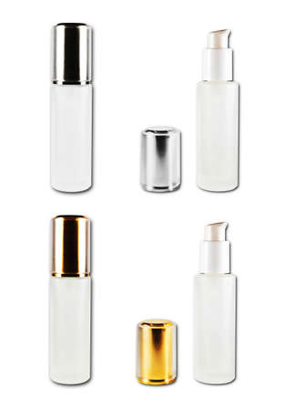 set of cosmetic bottles isolated on the white background  Stock Photo