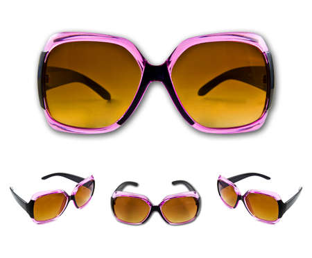 Set of pink sunglasses isolated on the white background
