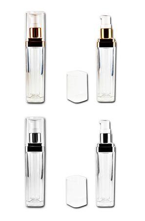 ensemble de cosm�tiques bouteilles isol�es sur un fond blanc  Banque d'images