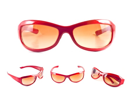 Set of red sunglasses isolated on the white background