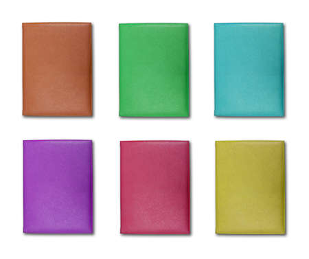 collection of colorful leather cover note book isolated on white background  Stock Photo