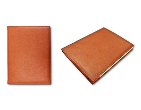livres bruns isol�es sur fond blanc  Banque d'images