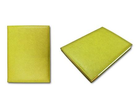 livres jaunes isol�s sur fond blanc