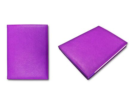 violet books isolated on white background