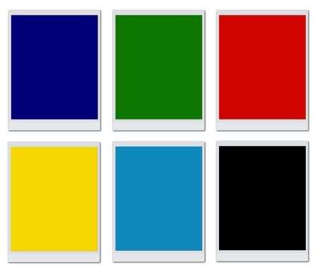 Colorful blank photo frames isolated on white background