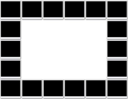 Blank photo frames background Stock Photo