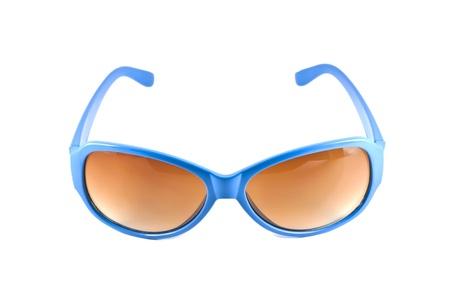Bleu lunettes de soleil isol� sur fond blanc Banque d'images