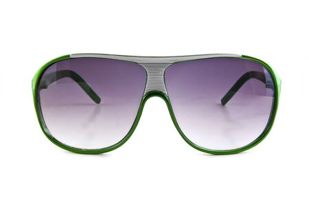Green sunglasses isolated on the white background Stock Photo