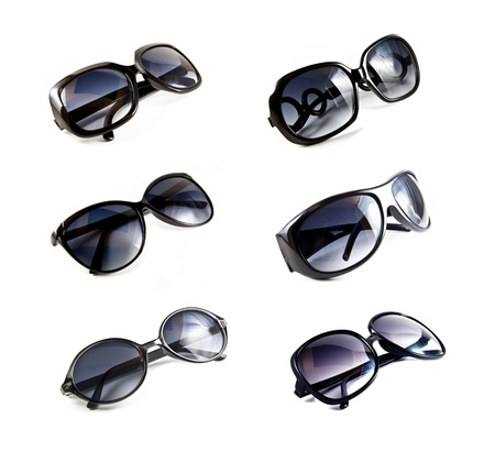 Set of black sunglasses isolated on the white background  Stock Photo