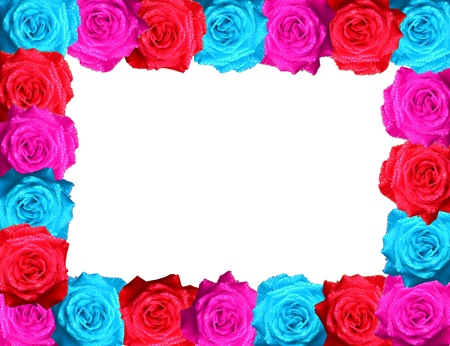colorful of rose photo frames isolated on white background  photo