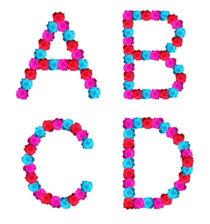 colorful of rose alphabet - letter A,B,C,D