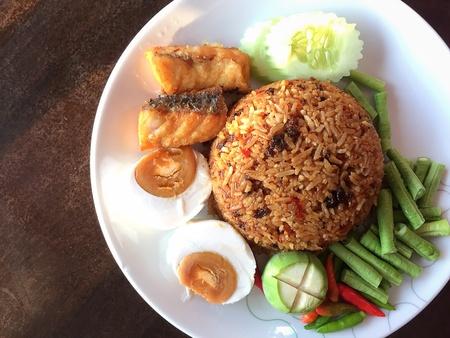 paste: Chilli paste fried rice, thai foods. Stock Photo