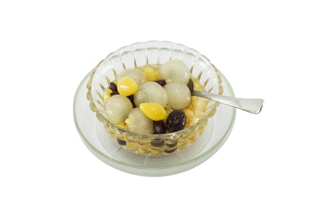 Traditional thai dessert with longan on white background isolate. Stock Photo - 10312370