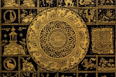 Thai arts and Buddha wheel symbol background  photo