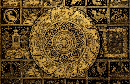Thai arts and Buddha wheel symbol background  photo