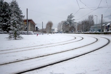 Snow covered rails in the Grenoble City France