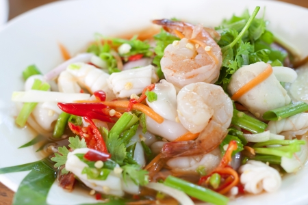 thai noodle: Seafood Thai Style salad in Thai Restaurant