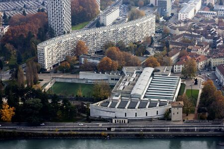 Top view and Stadium of Grenoble City  France, Alps  Editorial