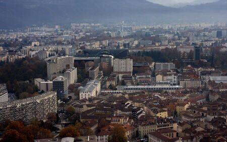 Landscape view of Grenoble City  France, Alps  Stock Photo