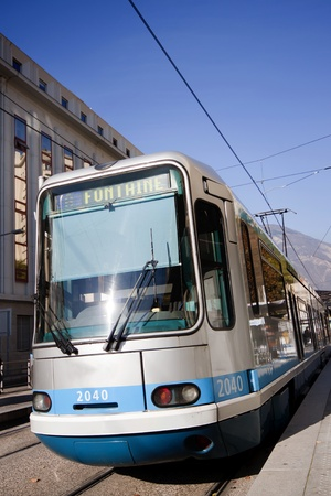 Tram way in the Grenoble City, France.