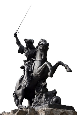 charro: Jinete de Escultura de combate sobre un fondo blanco en Grenoble, Francia