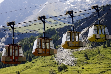 Closed up teleferics of Monetier Les Bains, Grenoble, France