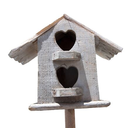 Wooden bird house on white background  Stock Photo